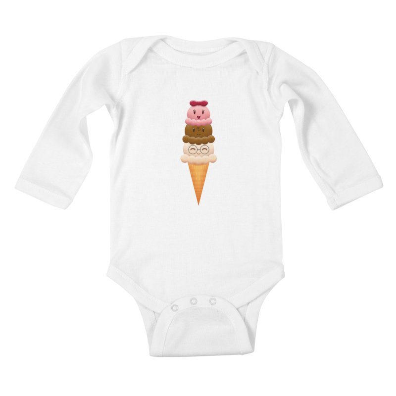 Ice Cream Buddies Kids Baby Longsleeve Bodysuit by Baubly Apparel