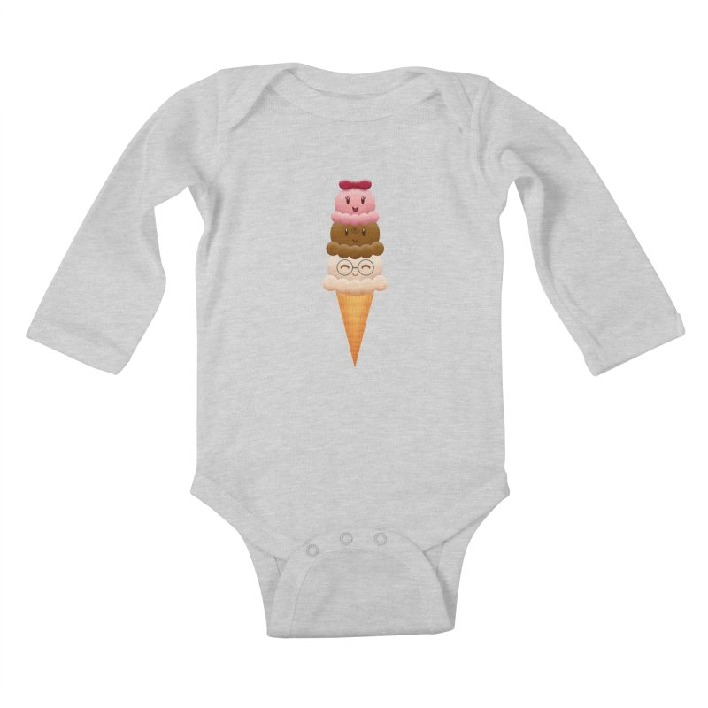 Ice Cream Buddies Kids Baby Longsleeve Bodysuit by Baubly Apparel