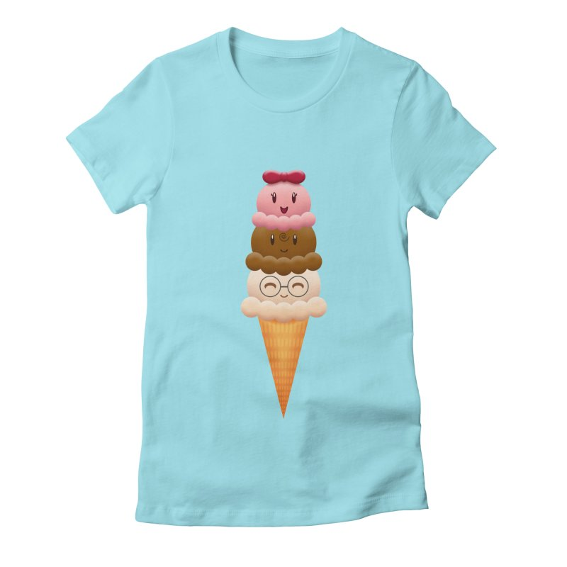 Ice Cream Buddies Women's Fitted T-Shirt by Baubly Apparel