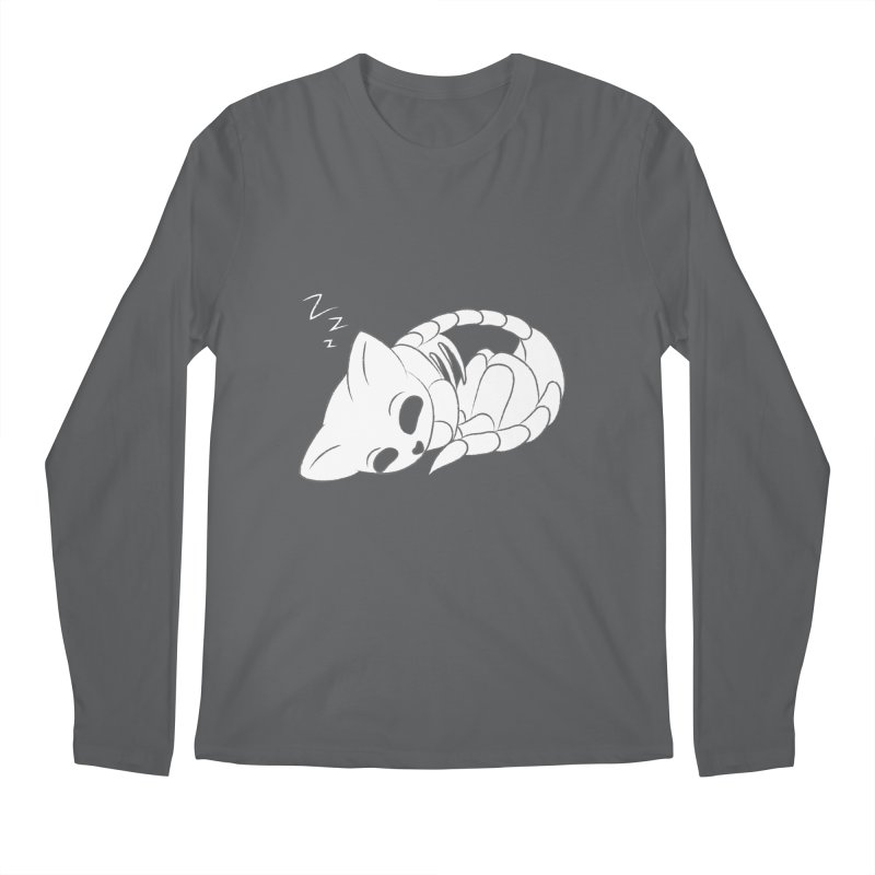Skeletal Cat Nap Men's Longsleeve T-Shirt by Baubly Apparel