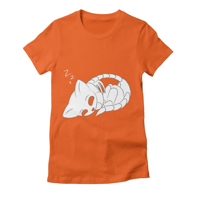 Skeletal Cat Nap Women's Fitted T-Shirt by Baubly Apparel