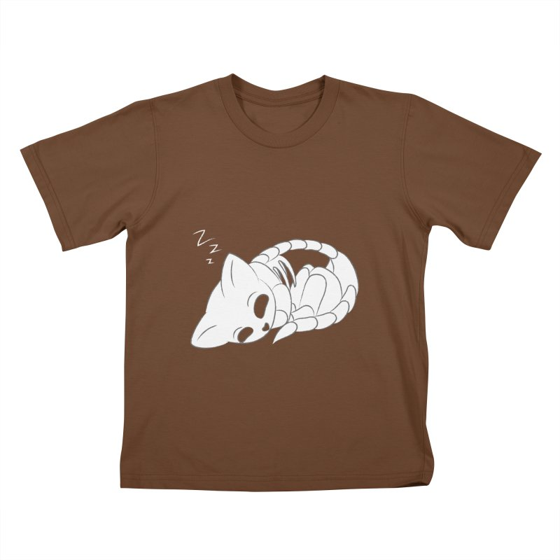 Skeletal Cat Nap Kids T-Shirt by Baubly Apparel