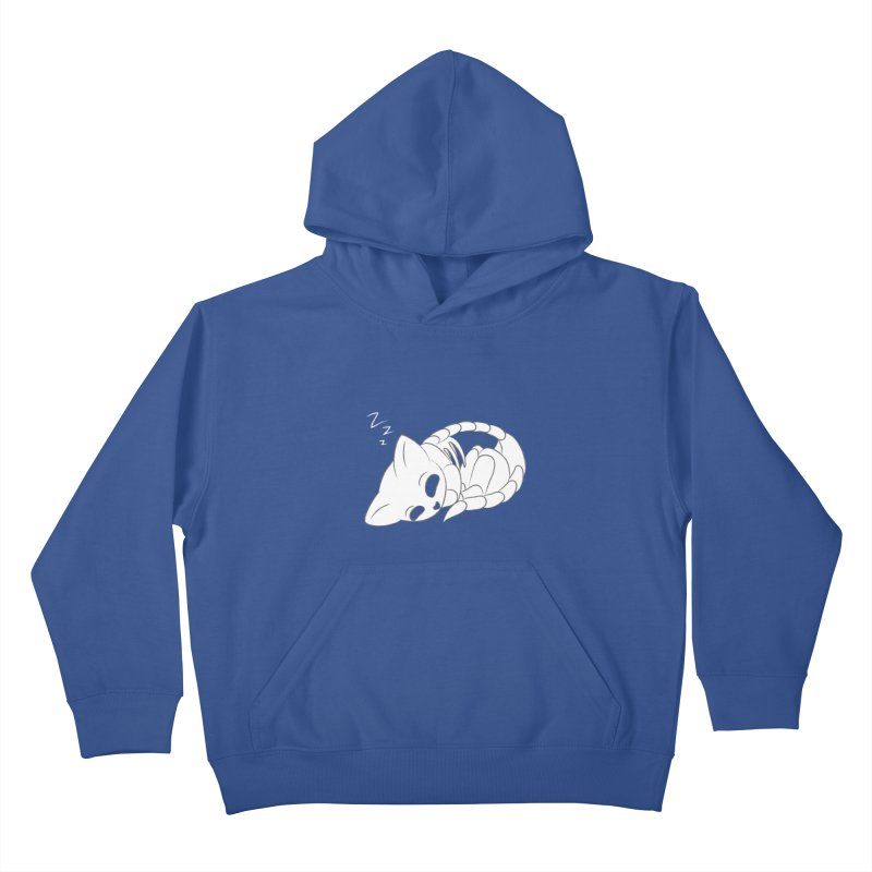 Skeletal Cat Nap Kids Pullover Hoody by Baubly Apparel