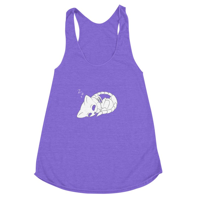 Skeletal Cat Nap Women's Racerback Triblend Tank by Baubly Apparel