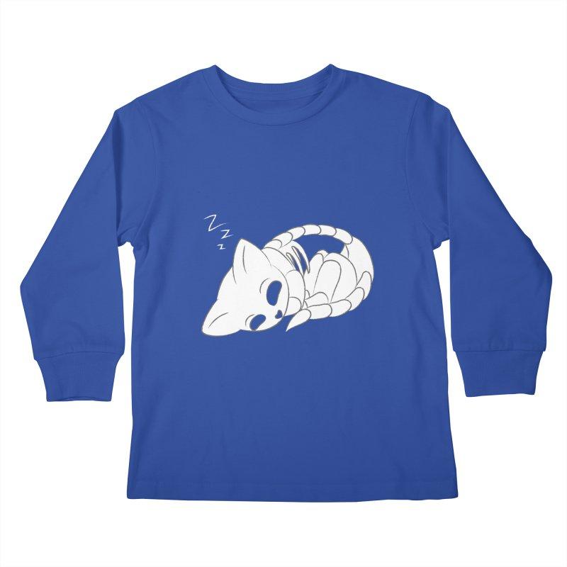 Skeletal Cat Nap Kids Longsleeve T-Shirt by Baubly Apparel