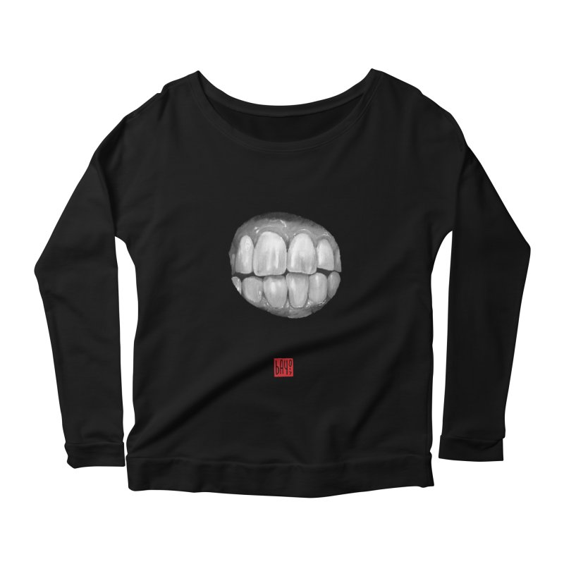 Teeth Women's Longsleeve Scoopneck  by fake smile