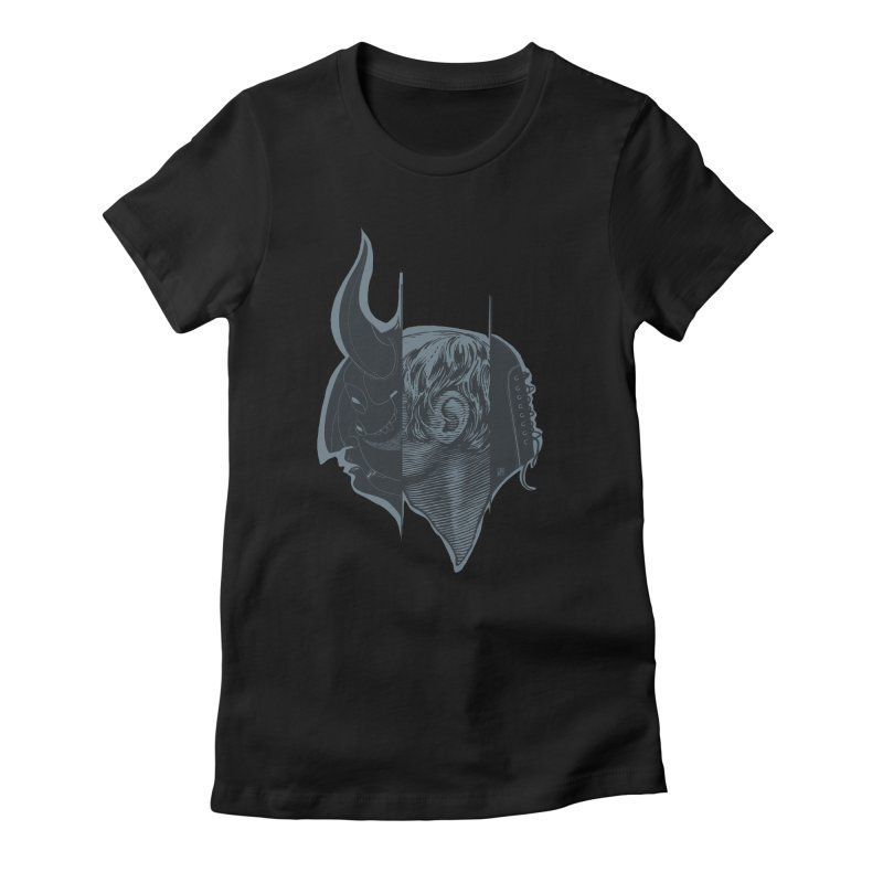 Demon mask / Gray in Women's Fitted T-Shirt Black by fake smile