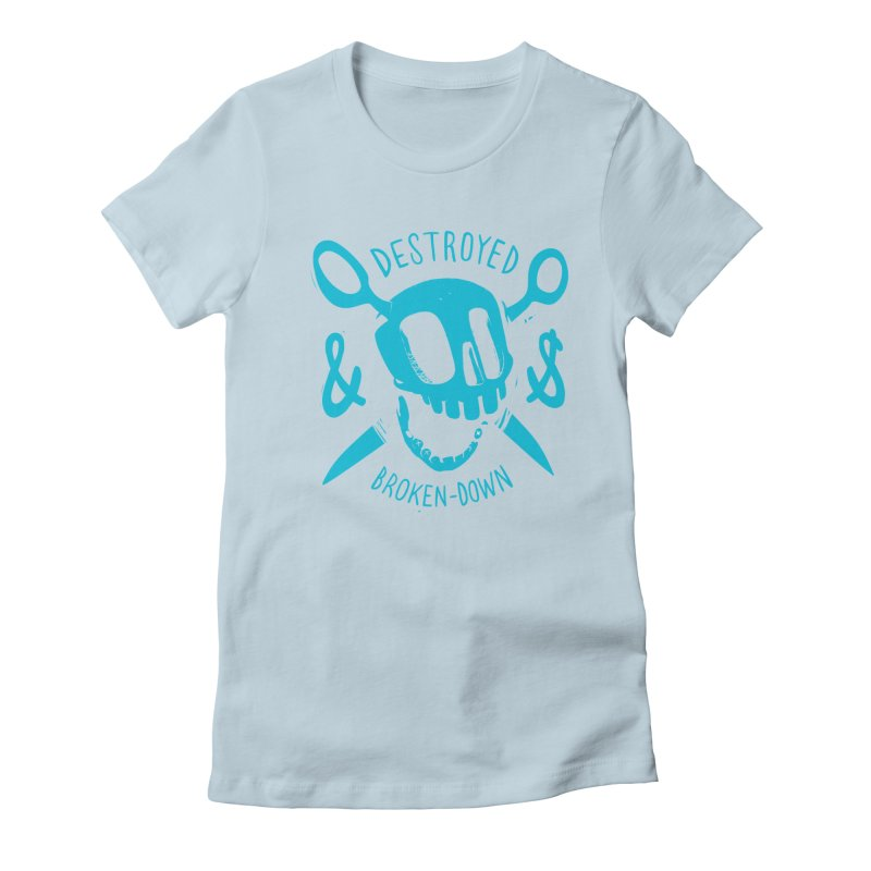 Destroyed & Broken-down blue Women's Fitted T-Shirt by fake smile