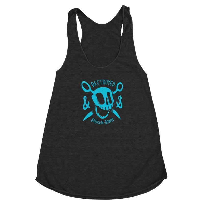 Destroyed & Broken-down blue Women's Racerback Triblend Tank by fake smile