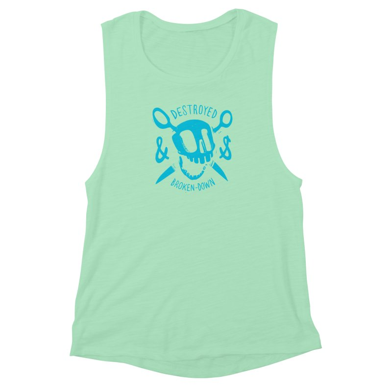 Destroyed & Broken-down blue Women's Muscle Tank by fake smile
