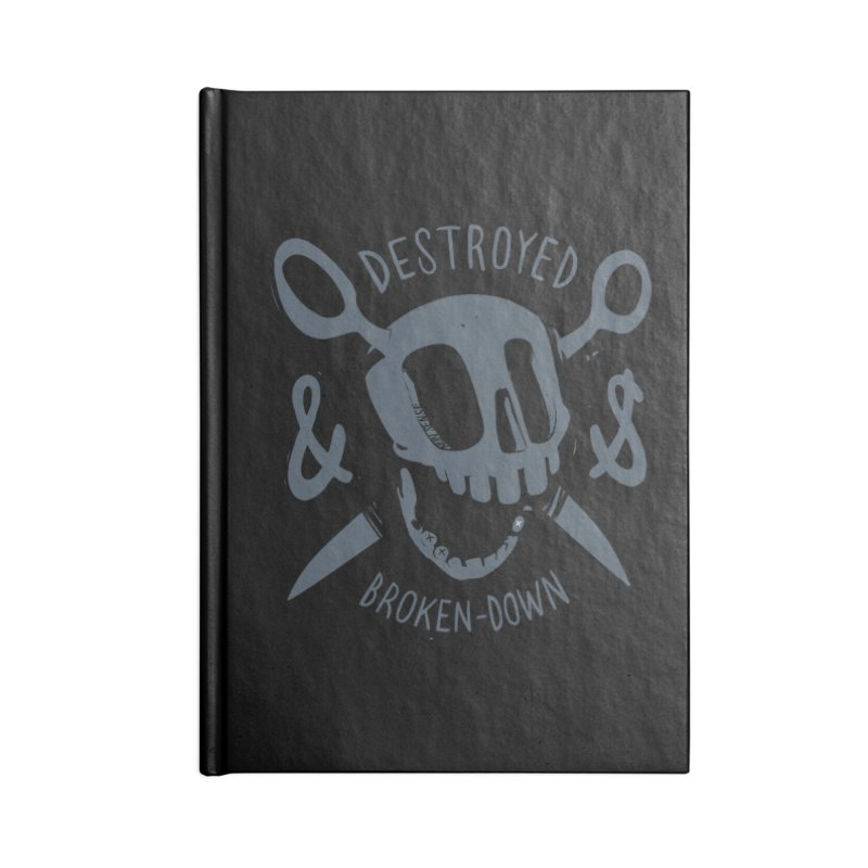 Destroyed & Broken-down gray Accessories Blank Journal Notebook by fake smile