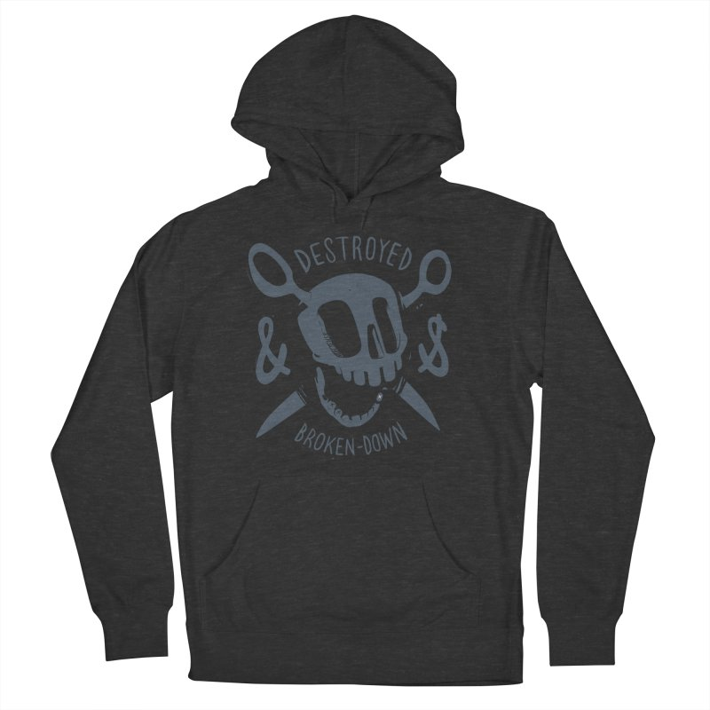 Destroyed & Broken-down gray in Men's French Terry Pullover Hoody Smoke by fake smile