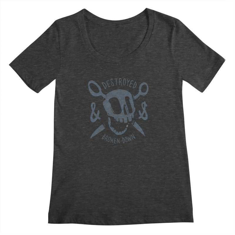 Destroyed & Broken-down gray Women's Scoopneck by fake smile