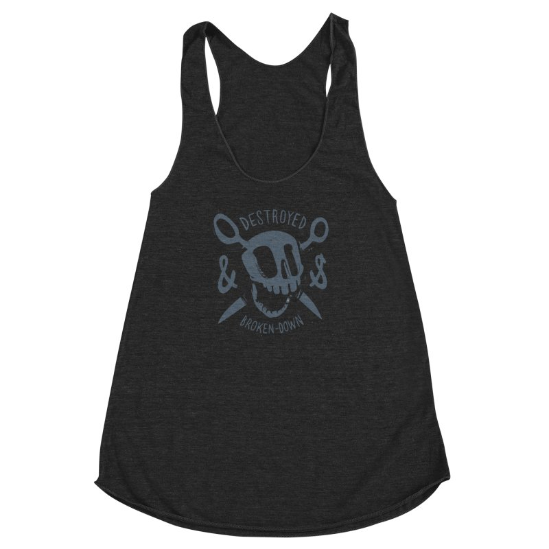 Destroyed & Broken-down gray Women's Racerback Triblend Tank by fake smile
