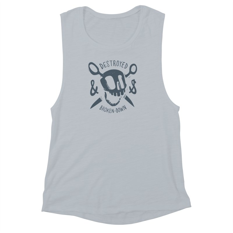 Destroyed & Broken-down gray Women's Muscle Tank by fake smile