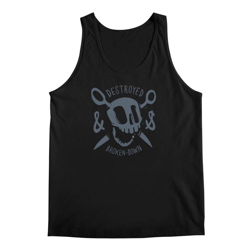 Destroyed & Broken-down gray Men's Tank by fake smile