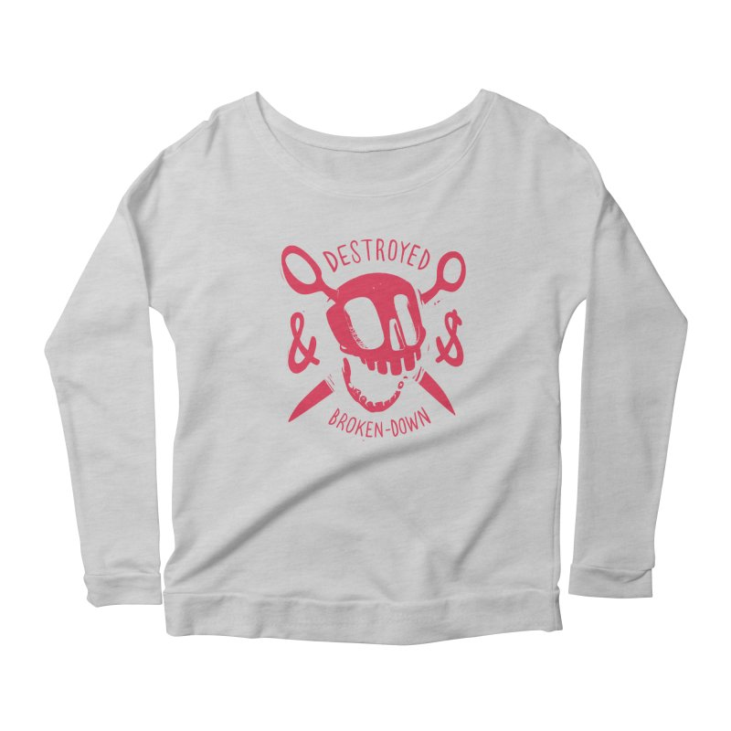 Destroyed (pink) Women's Longsleeve Scoopneck  by fake smile