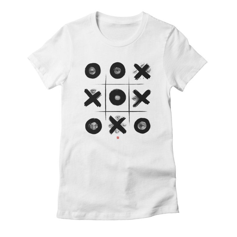 Tic Tac Toe in Women's Fitted T-Shirt White by fake smile