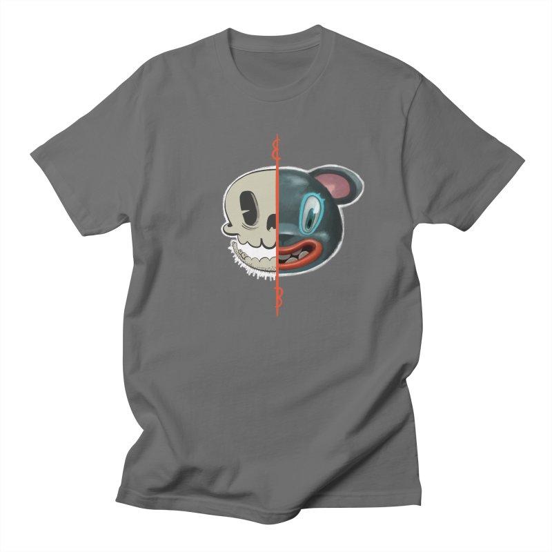 Half skull in Men's Regular T-Shirt Asphalt by fake smile