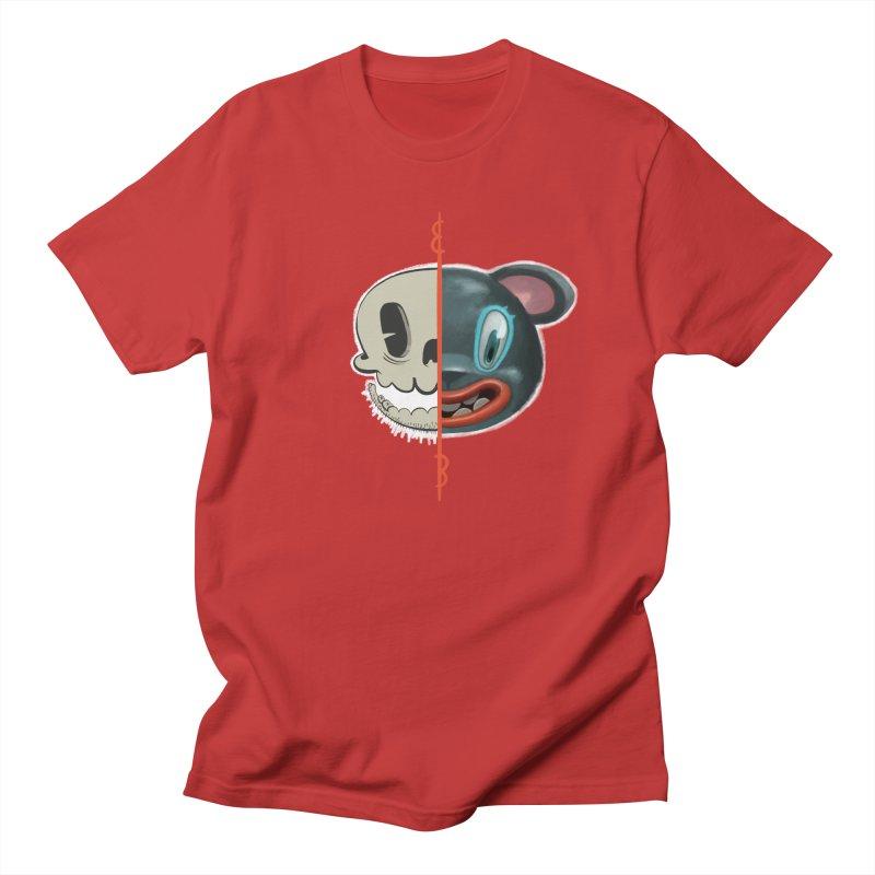 Half skull Men's Regular T-Shirt by fake smile
