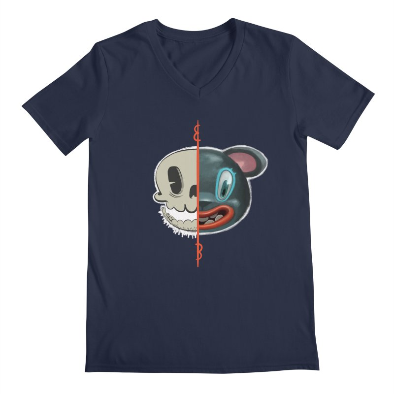 Half skull Men's V-Neck by fake smile
