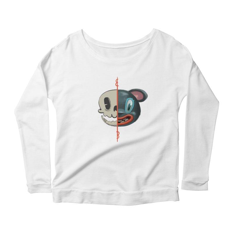 Half skull Women's Scoop Neck Longsleeve T-Shirt by fake smile
