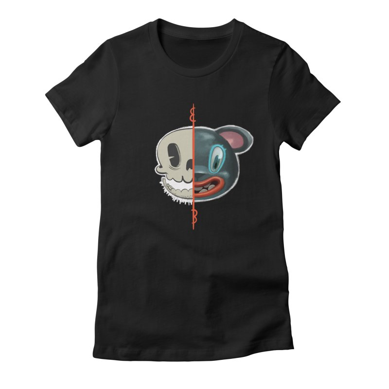 Half skull Women's Fitted T-Shirt by fake smile
