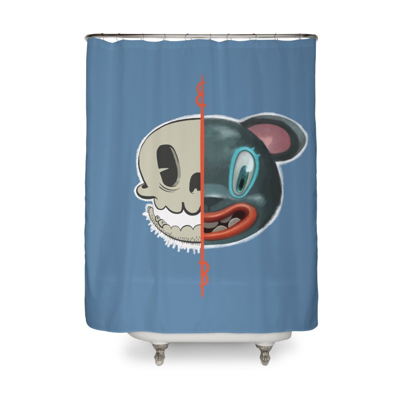 Half skull Home Shower Curtain by fake smile