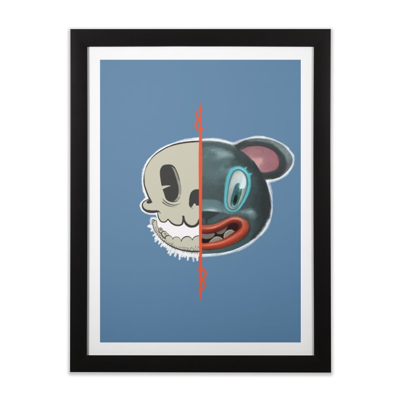 Half skull Home Framed Fine Art Print by fake smile