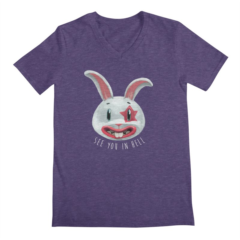 Bunny from hell Men's V-Neck by fake smile