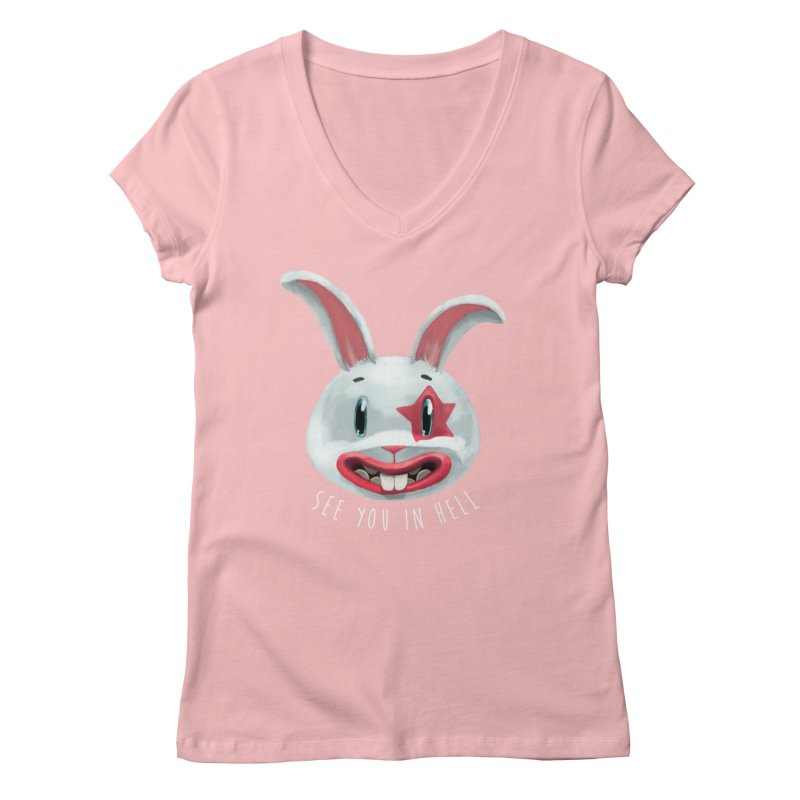 Bunny from hell Women's V-Neck by fake smile