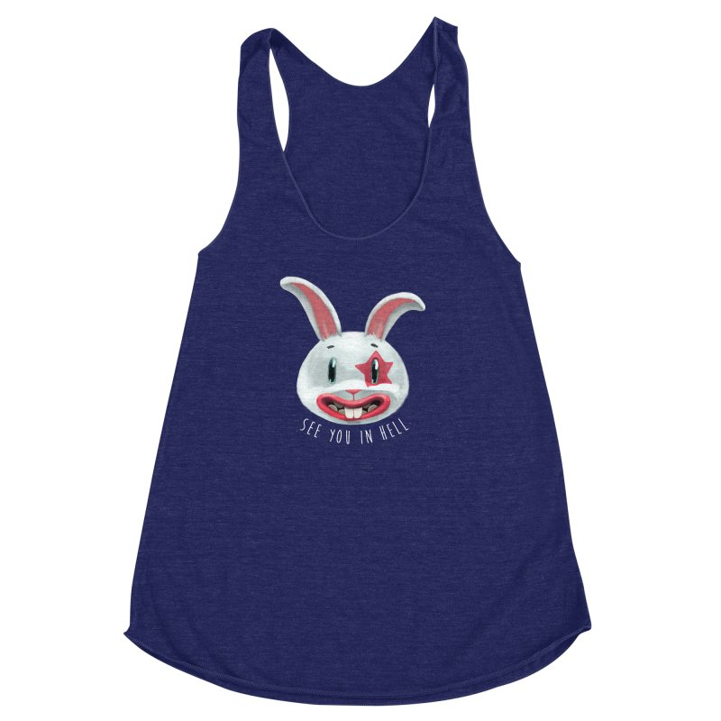 Bunny from hell Women's Racerback Triblend Tank by fake smile