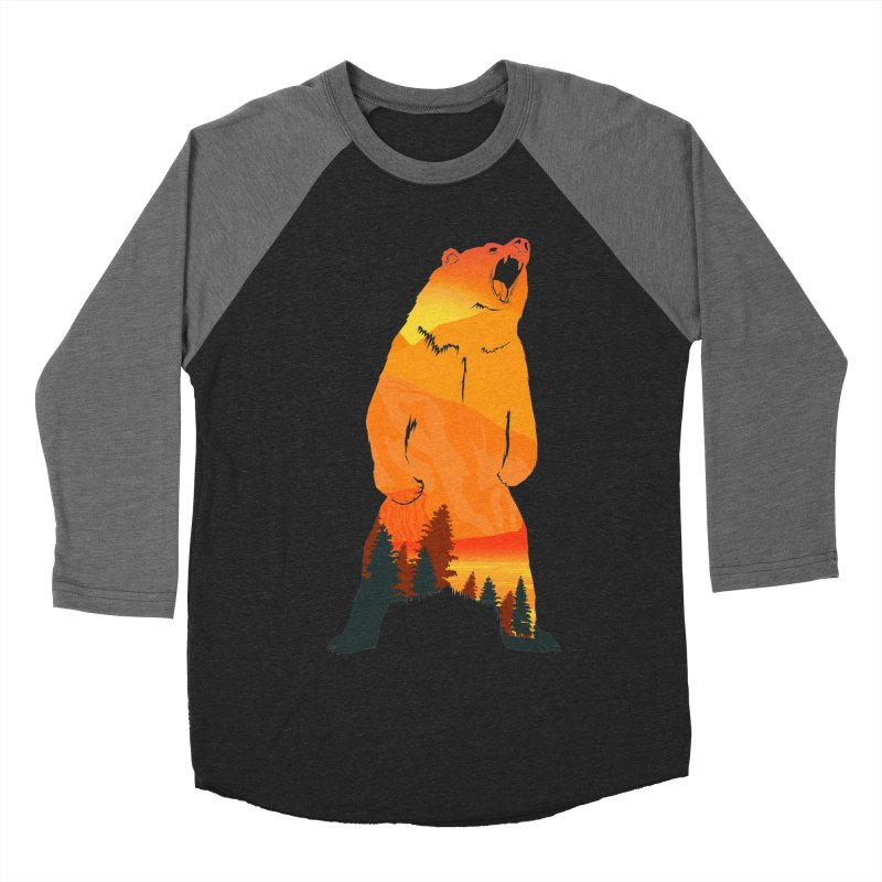 Grizzly Sunset Men's Baseball Triblend T-Shirt by Bazaar of the Bizzare