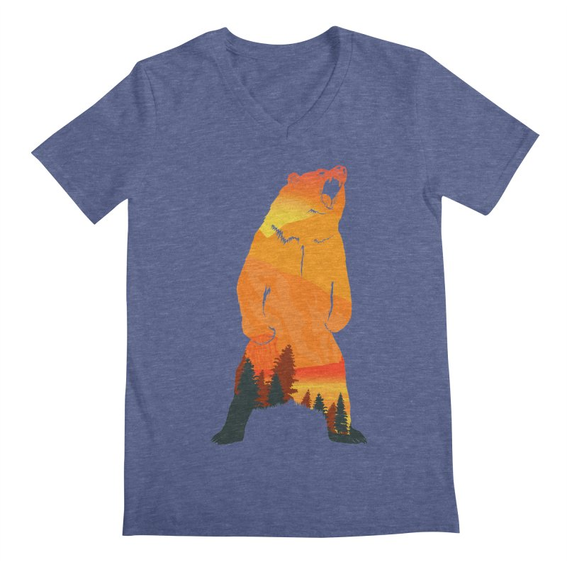 Grizzly Sunset Men's V-Neck by Bazaar of the Bizzare