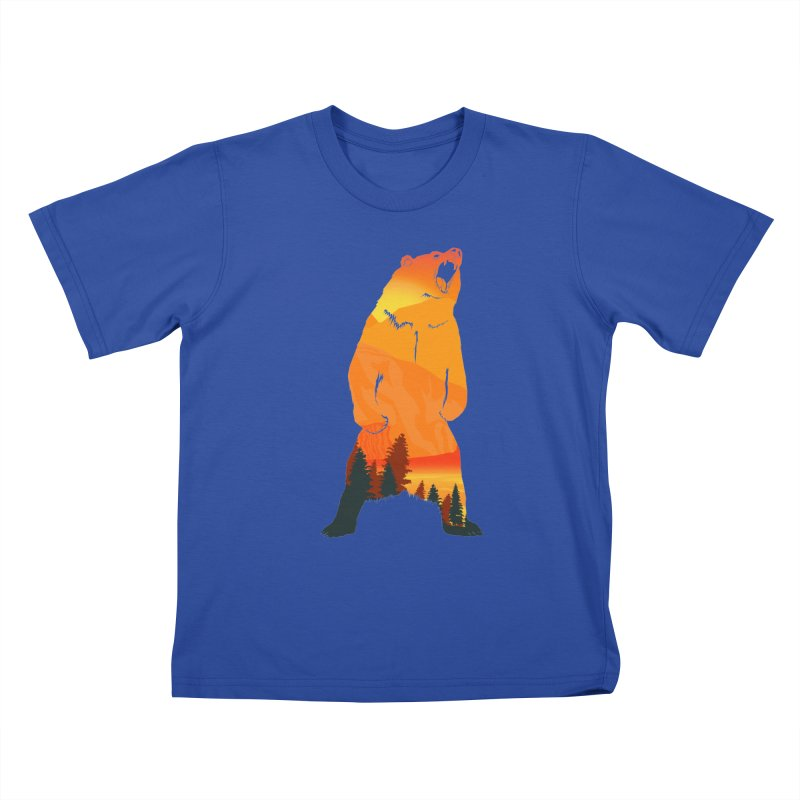 Grizzly Sunset Kids T-shirt by Bazaar of the Bizzare