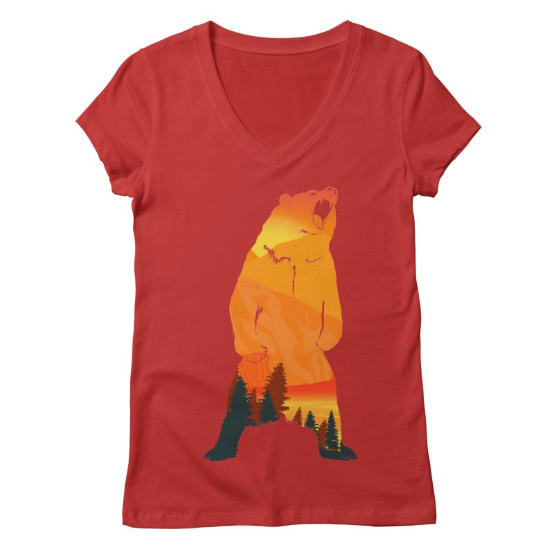 Grizzly Sunset Women's V-Neck by Bazaar of the Bizzare