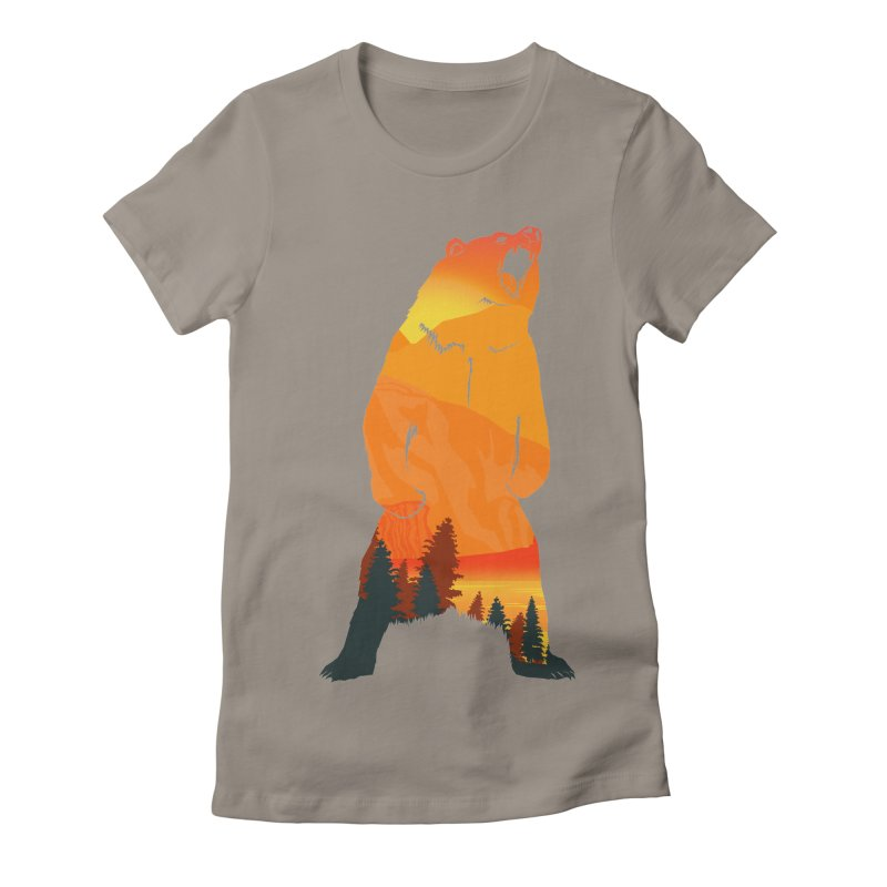 Grizzly Sunset Women's Fitted T-Shirt by Bazaar of the Bizzare