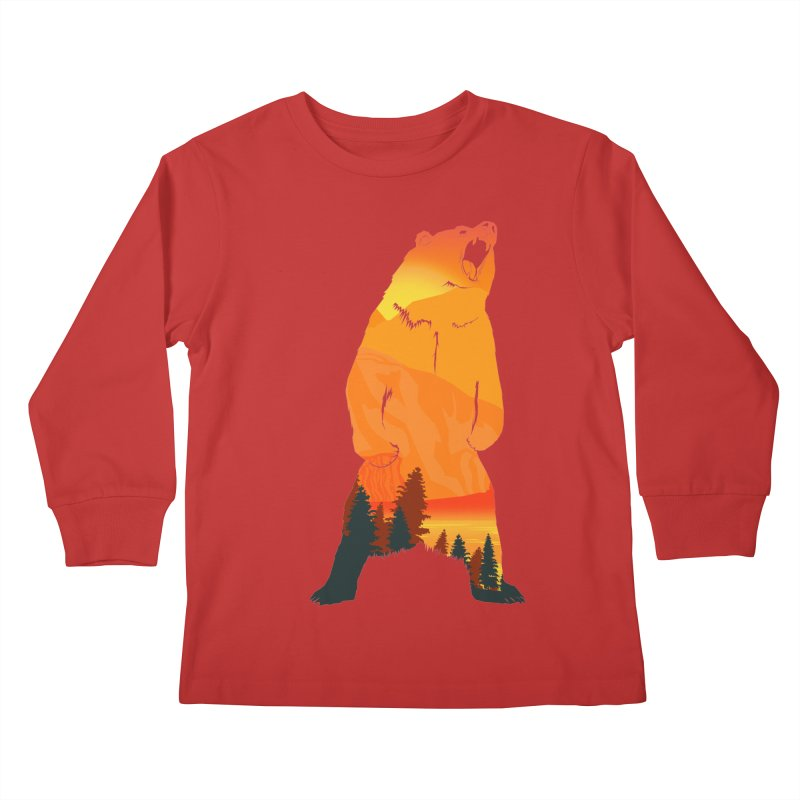 Grizzly Sunset Kids Longsleeve T-Shirt by Bazaar of the Bizzare