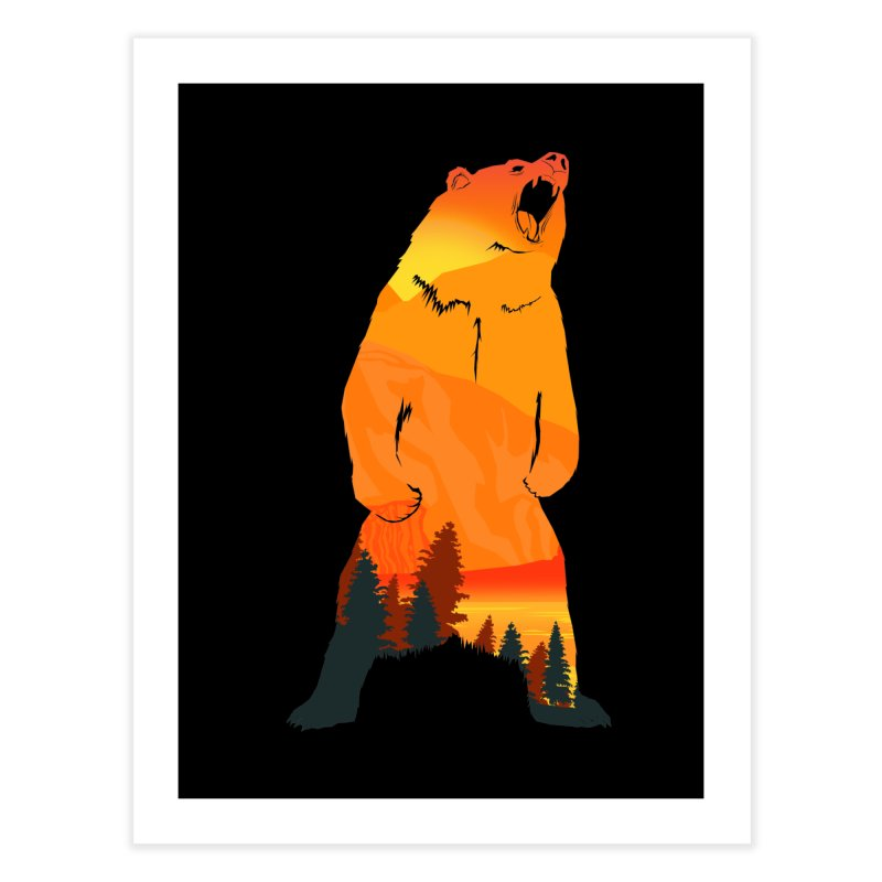Grizzly Sunset Home Fine Art Print by Bazaar of the Bizzare