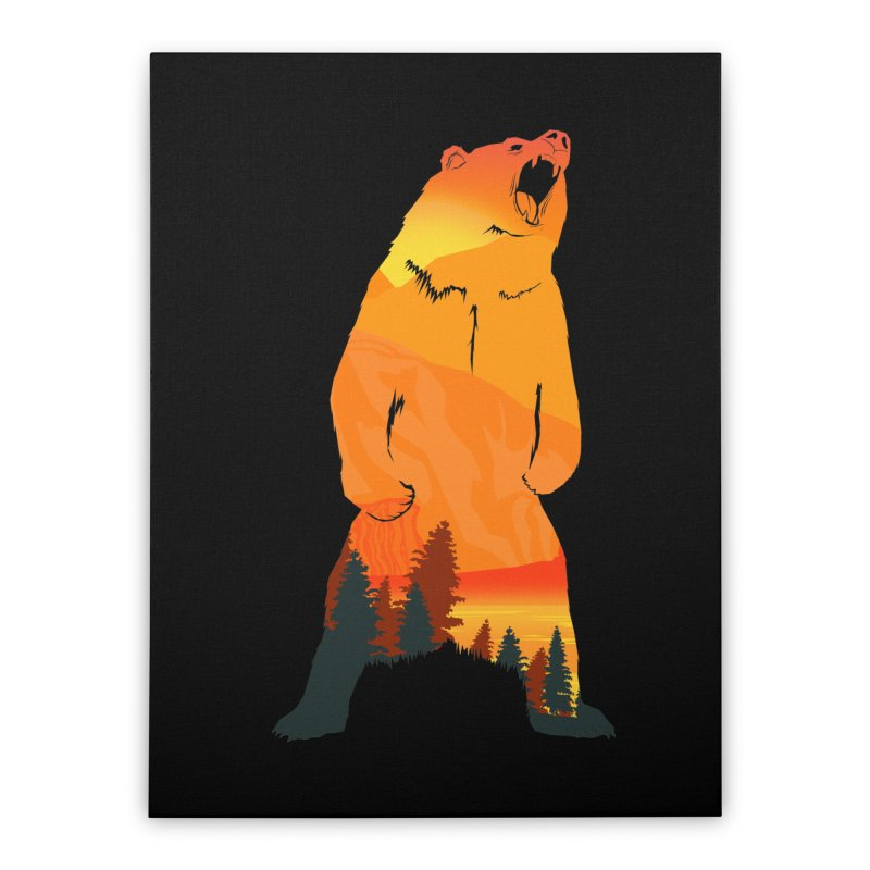 Grizzly Sunset Home Stretched Canvas by Bazaar of the Bizzare