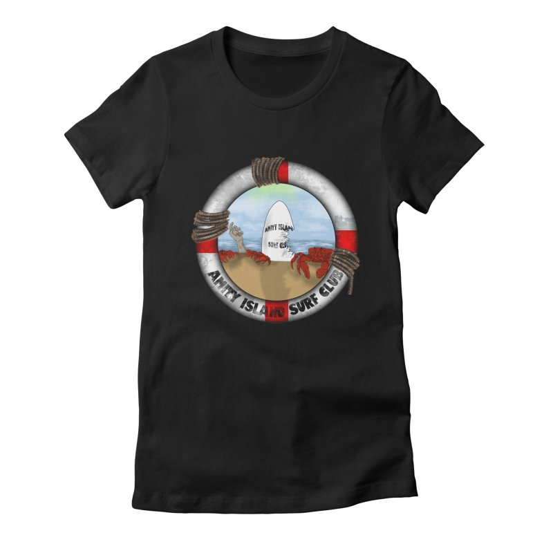 Amity Island Surf Club Women's Fitted T-Shirt by Bazaar of the Bizzare