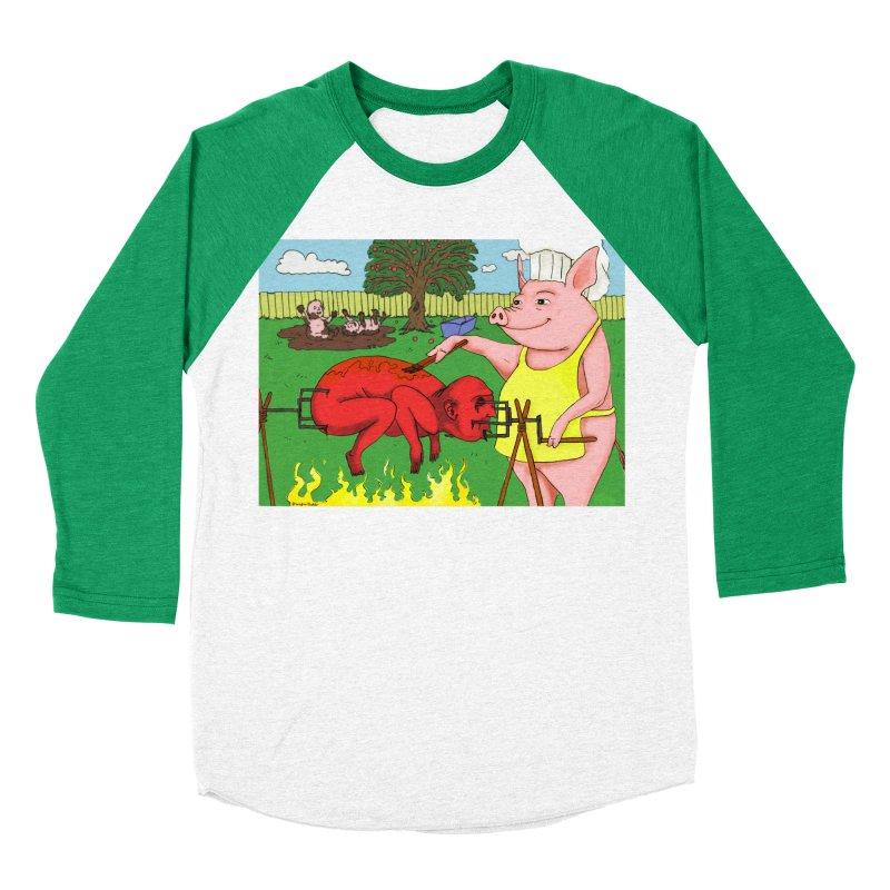 Pig Roast Women's Baseball Triblend T-Shirt by Brandon's Artist Shop