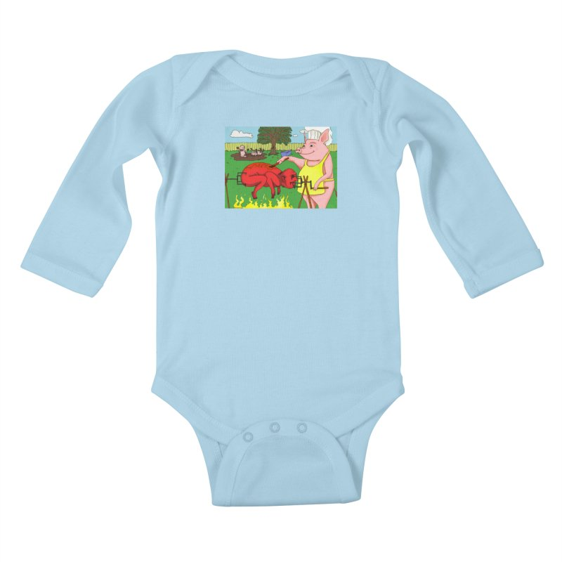 Pig Roast Kids Baby Longsleeve Bodysuit by Baked Goods