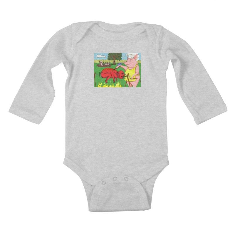 Pig Roast Kids Baby Longsleeve Bodysuit by Baked Goods