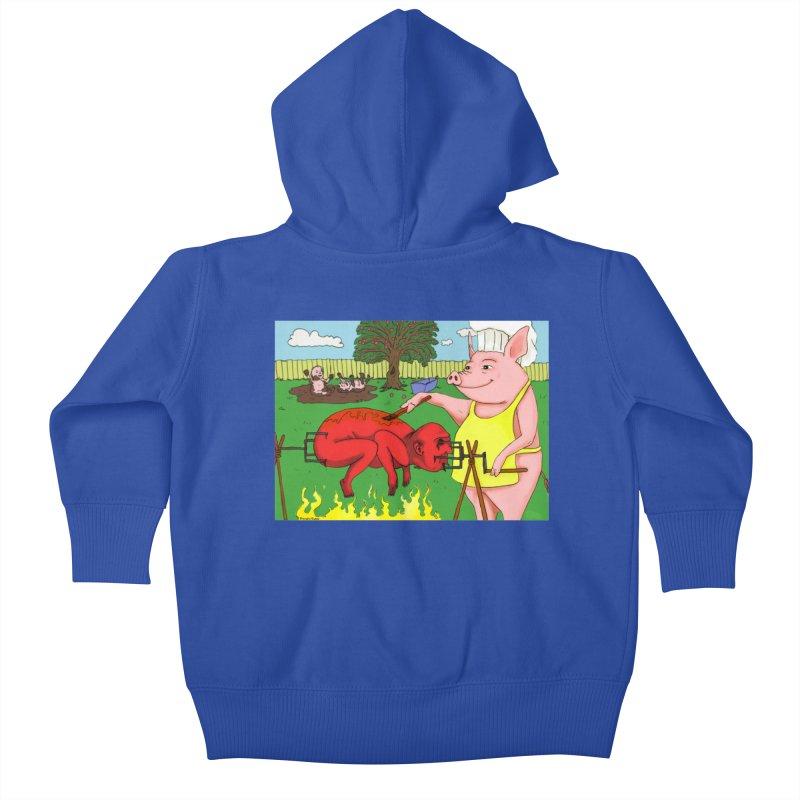 Pig Roast Kids Baby Zip-Up Hoody by Baked Goods