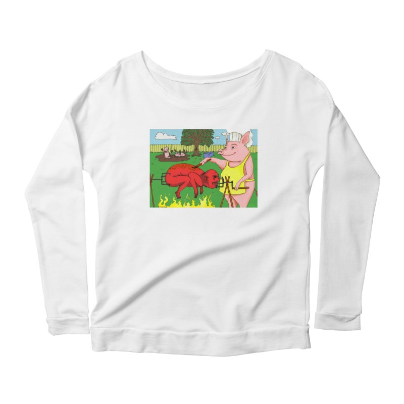 Pig Roast Women's Longsleeve Scoopneck  by Brandon's Artist Shop
