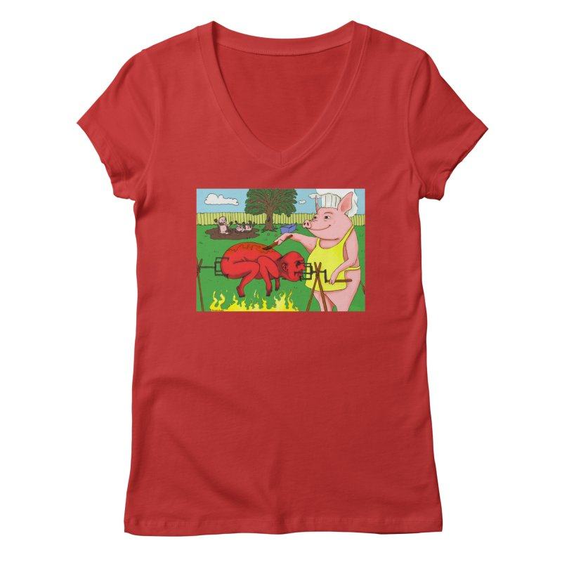 Pig Roast Women's Regular V-Neck by Baked Goods