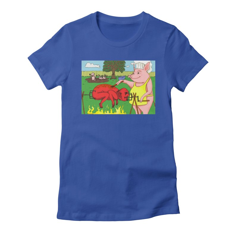 Pig Roast Women's Fitted T-Shirt by Baked Goods