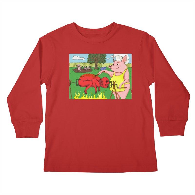 Pig Roast Kids Longsleeve T-Shirt by Brandon's Artist Shop