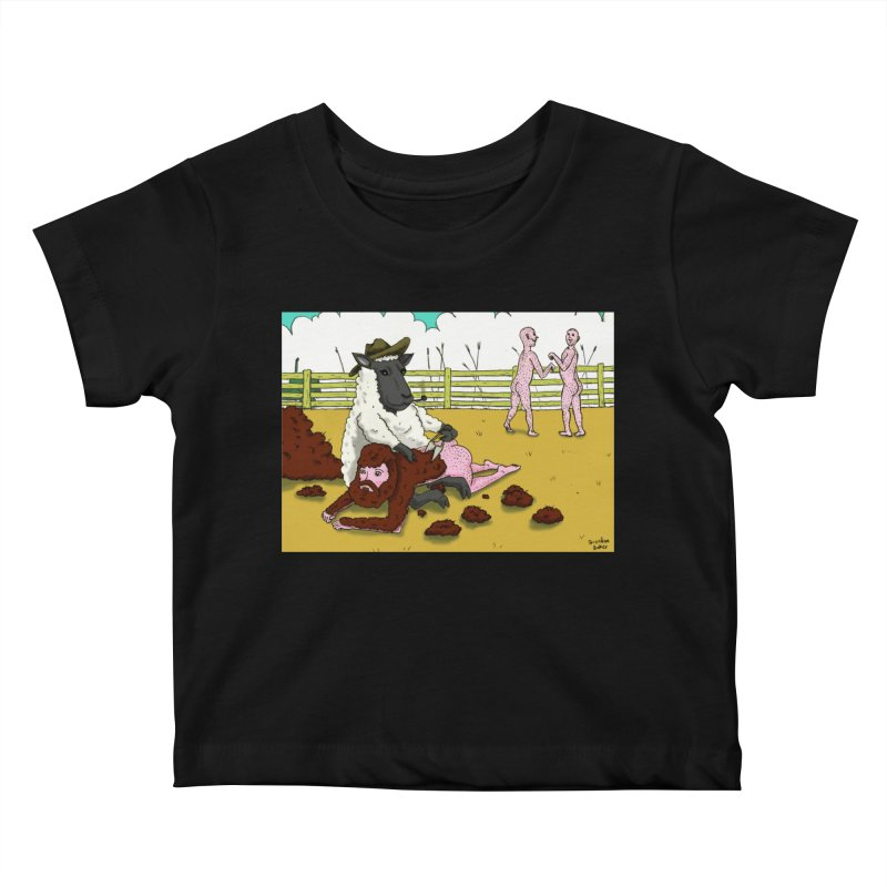 Sheering Sheep Kids Baby T-Shirt by Baked Goods